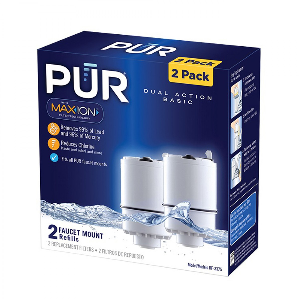 Pur Rf 3375 2 Pack 2 Stage Vertical Faucet Filter White