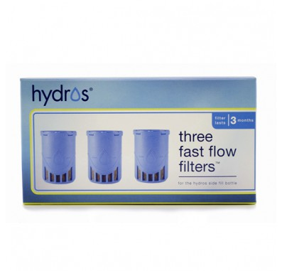 Hydros HBSF-3FLT Fast-Flow Side-Fill Water Purifier Bottle Replacement Filter (3-Pack)