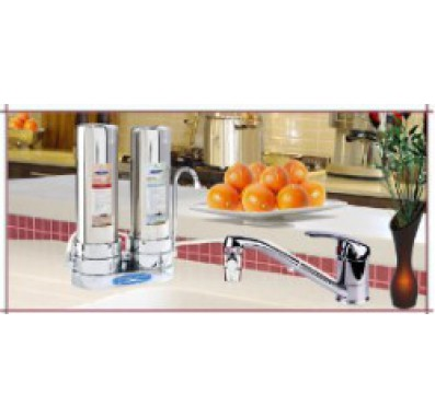 Crystal Quest Countertop Replaceable Double Fluoride PLUS Water Filter System (Stainless Steel)