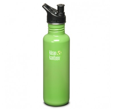 Klean Kanteen Be Green K27PPS-BG Stainless Steel Water Bottle with Sport-Top (27 oz)
