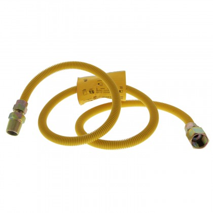 4-foot Yellow Coated SS 3/8-inch Gas Dryer Connector Tier1