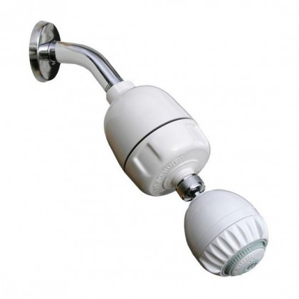 Rainshow'r CQ-1000-MS Shower Filter System with Pro Massaging Shower Head (White)