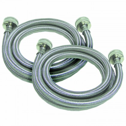 4-foot Braided Stainless Steel 3/4-inch FGH / FHT Washer Machine Hoses by Tier1 (2-Pack)