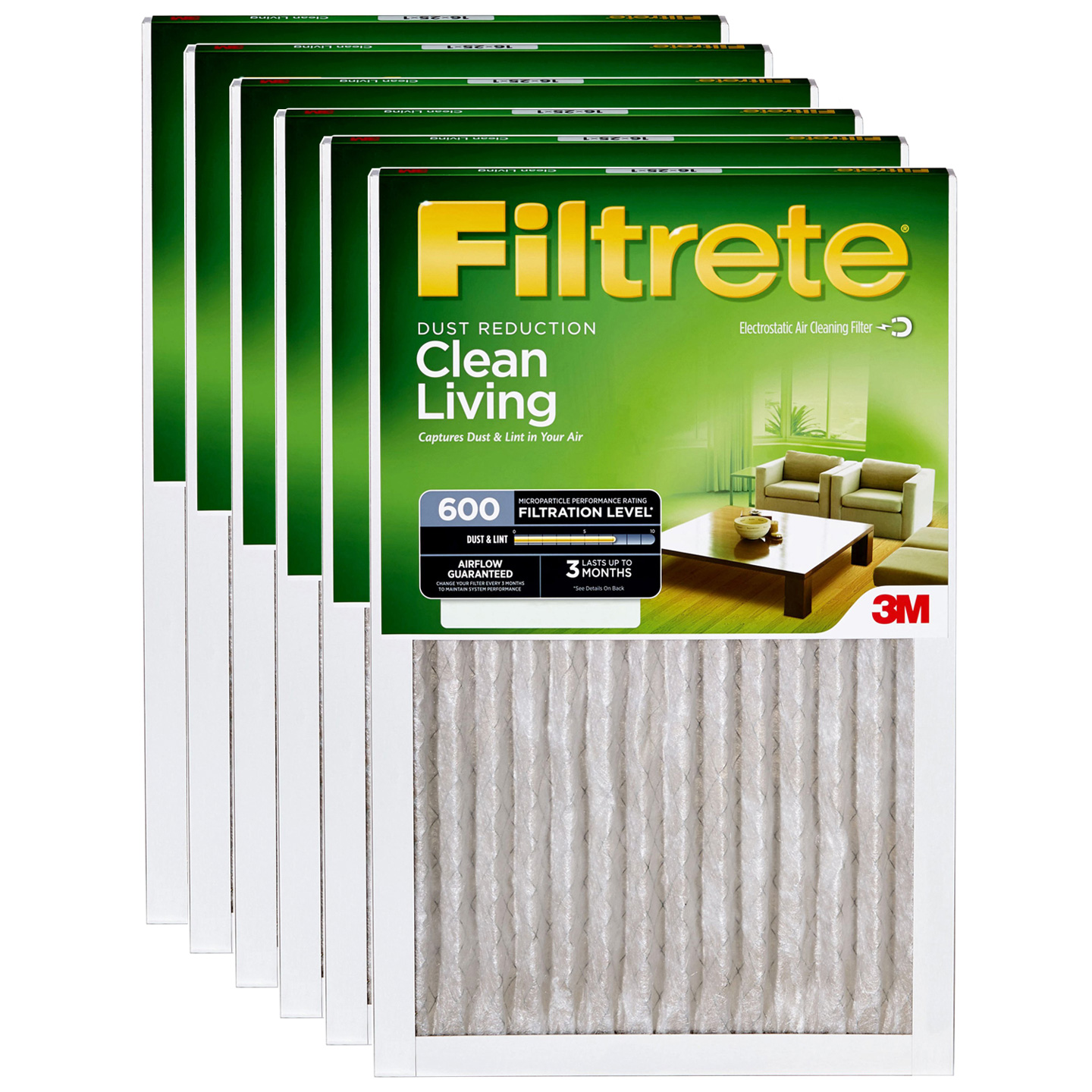12x24x1 3M Filtrete Dust and Pollen Filter (6-Pack) FILTRETE_DUST_12x24x1_6_PACK