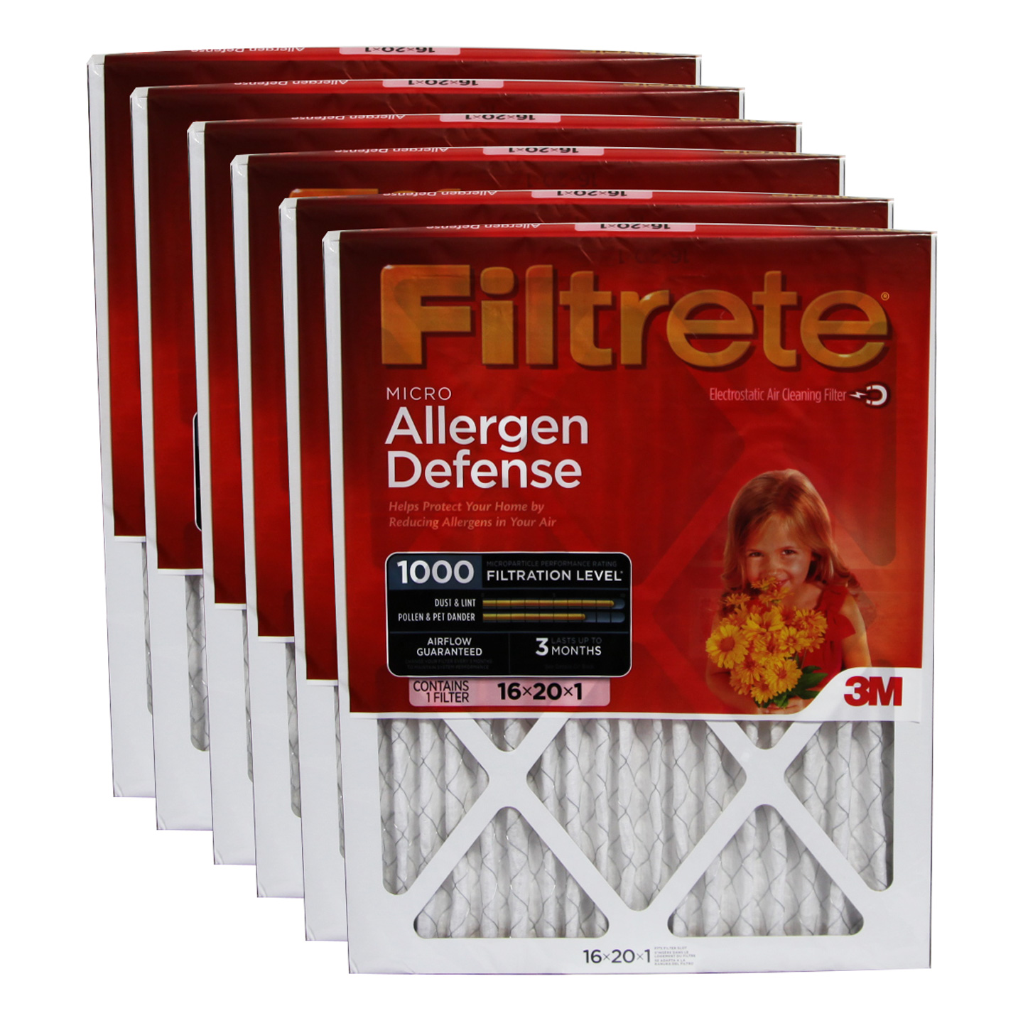 3M Filtrete 9800DC-6 Micro Allergen Reduction Filters (6 Pack) FILTRETE_MICRO_16x20x1_6_PACK