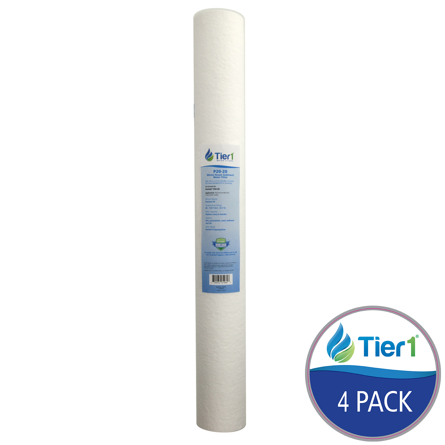Pentek PS20-20C Polypropylene Sediment Water Filter Replacement by Tier1 (4-Pack) TIER1_P20_20_4_PACK