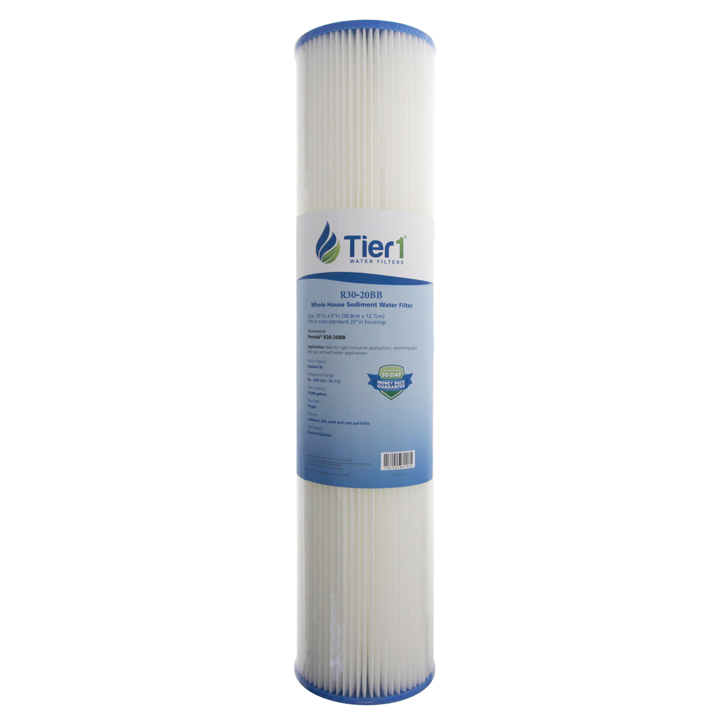 20 X 4.5 Pleated Polyester Replacement Filter by Tier1 (30 micron) TIER1-R30-20BB