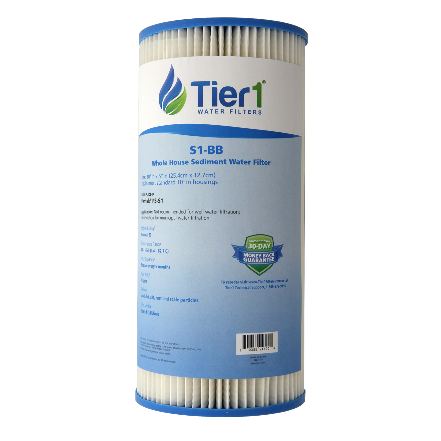 10 X 4.5 Pleated Cellulose Replacement Filter by Tier1 (20 micron) TIER1-S1-BB