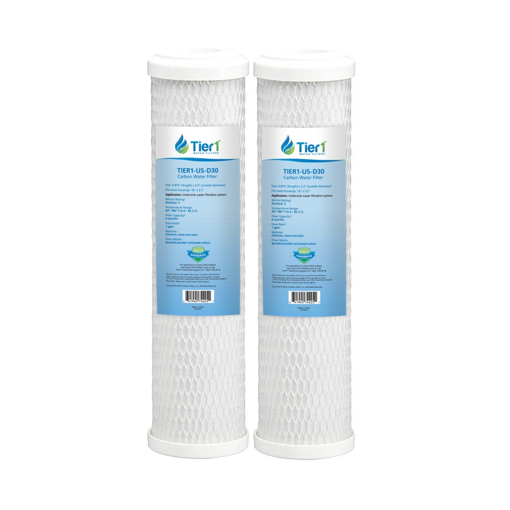 10 X 2.5 Carbon Block Replacement Filter Set by Tier1 (0.5 micron) TIER1_US_D30_2_PACK
