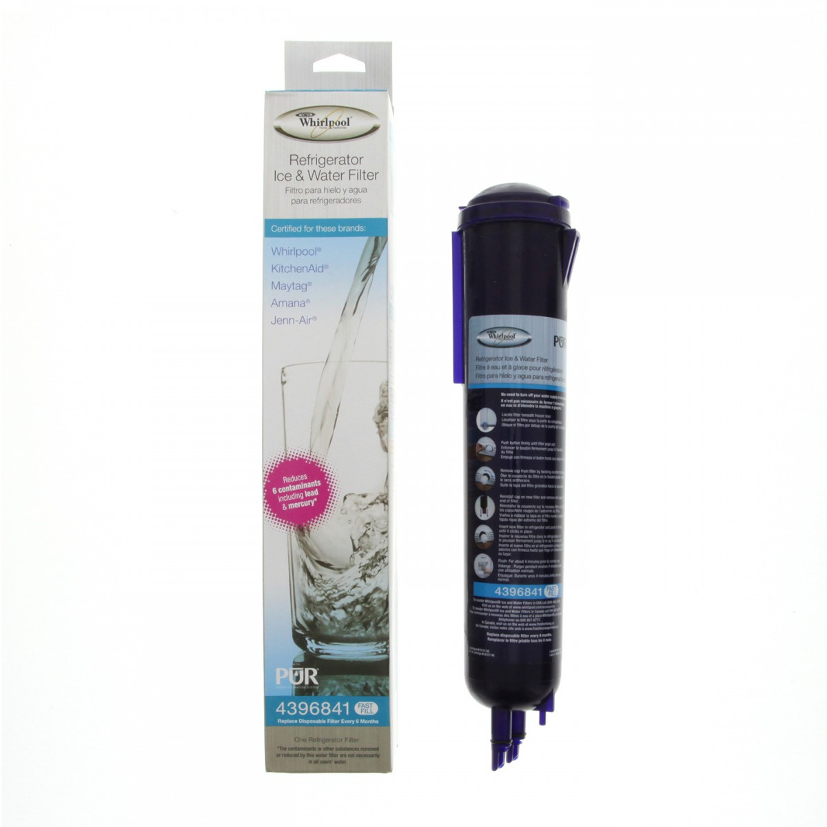 Whirlpool 4396841 genuine oem refrigerator water filter - Whirlpool refrigerator ice and water filter pur ...