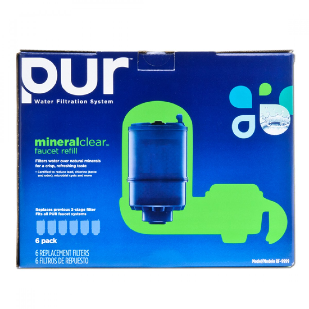PUR RF-9999-6 3-Stage Mineral Clear Faucet Replacement Filters 6-Pack