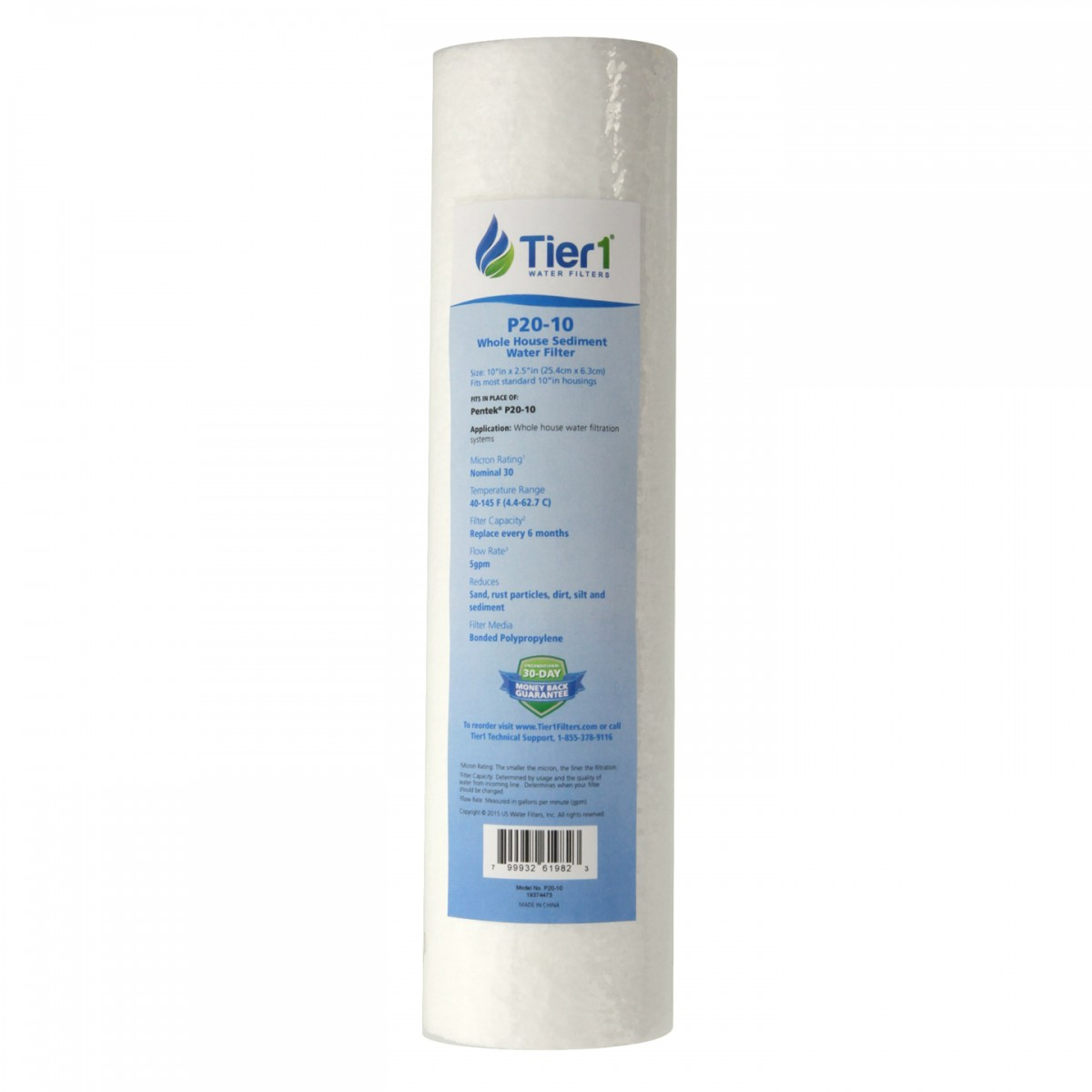 Pentek P20 Comparable Whole House Sediment Water Filter by Tier1