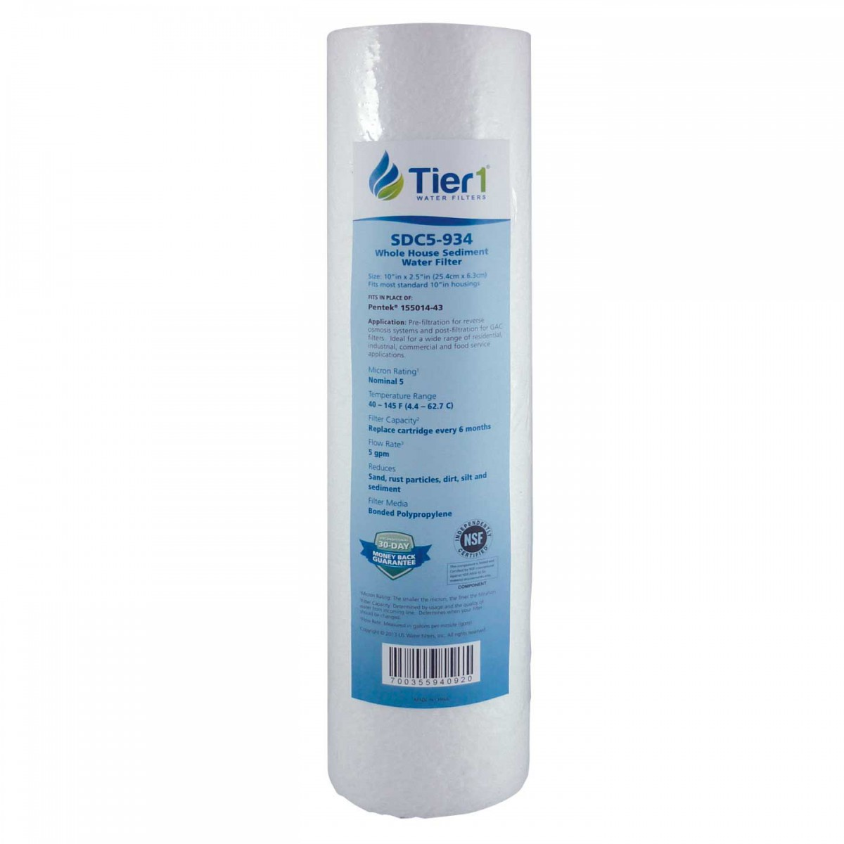 Pentek 155014 43 Comparable Whole House Sediment Water Filter by Tier1