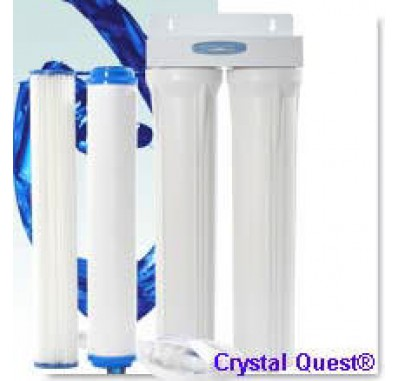 Crystal Quest Commercial 20-inch-Inline Replaceable Double Multi Water Filter System