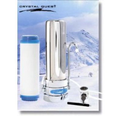 Crystal Quest Countertop Replaceable Single Multi ULTIMATE Water Filter System (Stainless Steel)