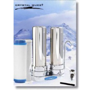 Crystal Quest Countertop Replaceable Double Multi PLUS Water Filter System (Stainless Steel)