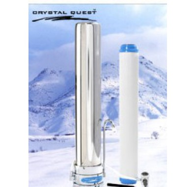 Crystal Quest Countertop Replaceable Single Tall/Multi PLUS Water Filter System (Stainless Steel)