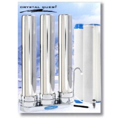 Crystal Quest Countertop Replaceable Triple Tall/Multi ULTIMATE Water Filter System (Stainless Steel)