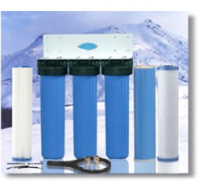 Crystal Quest Whole House Triple 20 in x 5.0 in Water Filter System