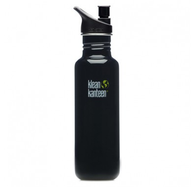 K27PPS-BE Klean Kanteen 27-Ounce Stainless Steel Water Bottle with Sport-Top - Black Eclipse
