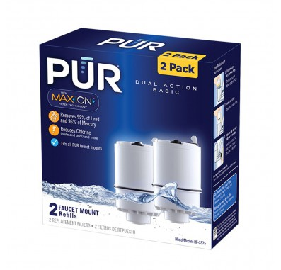 PUR RF-3375-2-PACK 2-Stage Vertical Faucet Filter Replacement Cartridge - White (2-Pack)