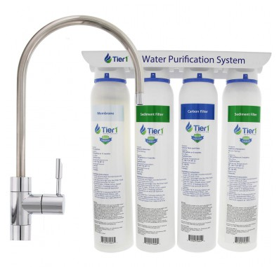 4-Stage Ultra-Filtration Hollow Fiber Drinking Water Filter System and Faucet by Tier1