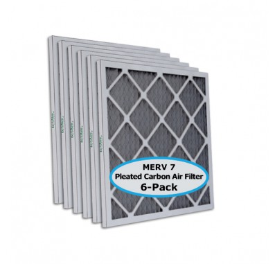 Tier1 12-1/2 x 24-1/2 x 1  MERV 8 Carbon - 6 Pack Air Filters (P75S-6112H24H)