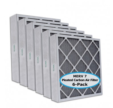 Tier1 12-1/2 x 24-1/2 x 4  MERV 8 Carbon - 6 Pack Air Filters (P75S-6412H24H)