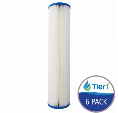 Tier1 20 inch x 4.5 inch Pleated Sediment Water Filter (20 Micron) (6 Pack)