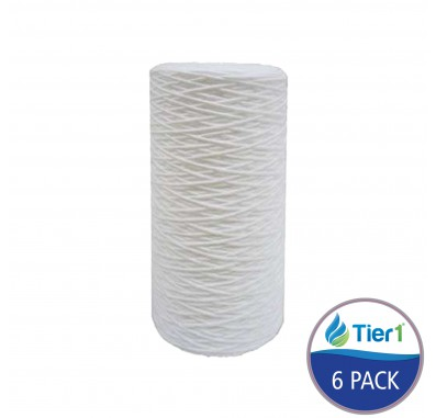 Tier1 10 inch x 4.5 inch String Wound Sediment Water Filter (20 Micron) (6 Pack)