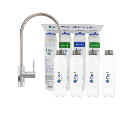 Tier1 4-Stage Under Sink Ultra-Filtration Hollow Fiber Quick-Change Drinking Water Filter System with 4 Reusable Glass Water Bottles