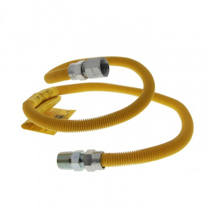 Yellow 4-foot Coated SS 1/2-inch Gas Dryer Connector by Tier1