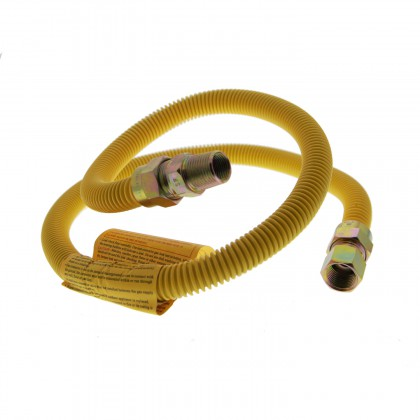 4-Foot Yellow Coated SS 5/8-Inch Gas Range Connector by Tier1