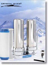 Crystal Quest Countertop Replaceable Double Multi ULTIMATE Water Filter System (Stainless Steel)