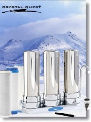 Crystal Quest Countertop Replaceable Triple Multi PLUS Water Filter System (Stainless Steel)
