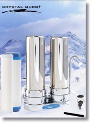 Crystal Quest Countertop Replaceable Double Ceramic Filter System (Stainless Steel)