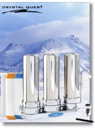 Crystal Quest Countertop Replaceable Triple Arsenic PLUS Water Filter System (Stainless Steel)