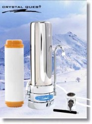 Crystal Quest Countertop Replaceable Single Nitrate/Multi Water Filter System (Stainless Steel)