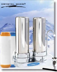 Crystal Quest Countertop Replaceable Double Nitrate PLUS Water Filter System (Stainless Steel)