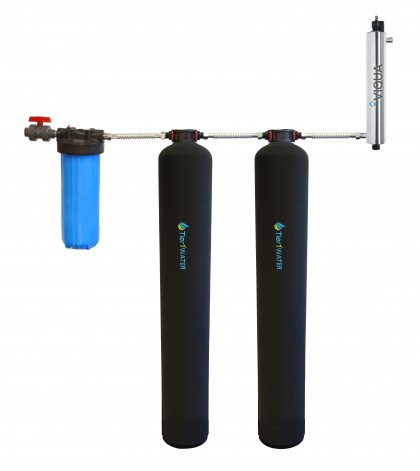 Tier1 Series 10000 Whole Home Carbon and KDF + UV Water Purification and Salt Free Water Softening System