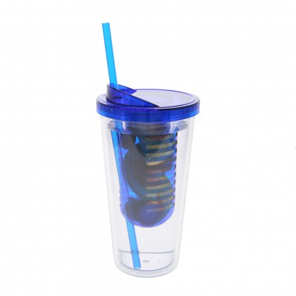 Clear 20 Ounce Water Bottle with Blue Infuser by Tier1