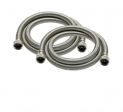 6-Foot Braided Stainless Steel 3/4-inch FGH / FHT Washer Machine Hoses by Tier1 (2-Pack)