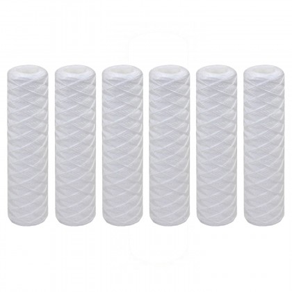 Tier1 10 inch x 2.5 inch String Wound Sediment Water Filter (20 Micron) (6 Pack)