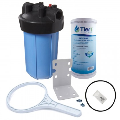 Tier1 10 inch Big Polypropylene Filter Housing with Pressure Release and Carbon Filter Kit (1 inch Inlet/Outlet)