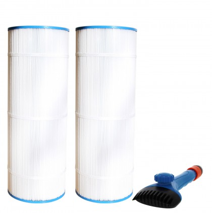 Tier1 CX1100-RE Comparable Pool and Spa Filter (2-Pack) and Pool Filter Cleaning Brush