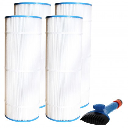 Tier1 CX1100-RE Comparable Pool and Spa Filter (4-Pack) and Pool Filter Cleaning Brush