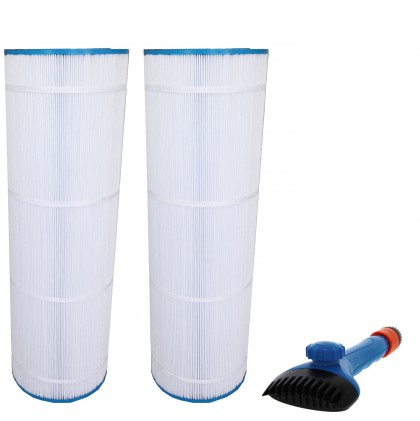 Tier1 CX1750-RE, 25230-0175S & 817-0175P Comparable Pool and Spa Filter (2-Pack) and Pool Filter Cleaning Brush