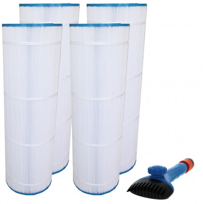 Tier1 CX1750-RE, 25230-0175S & 817-0175P Comparable Pool and Spa Filter (4-Pack) and Pool Filter Cleaning Brush
