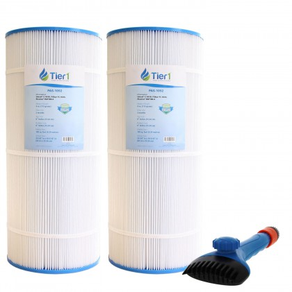 Tier1 Pleatco PAP100-4 and PAP100-M4 Comparable Pool and Spa Filter (2-Pack) and Pool Filter Cleaning Brush