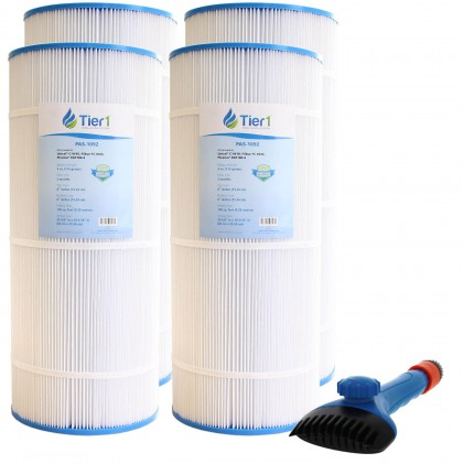 Tier1 Pleatco PAP100-4 and PAP100-M4 Comparable Pool and Spa Filter (4-Pack) and Pool Filter Cleaning Brush